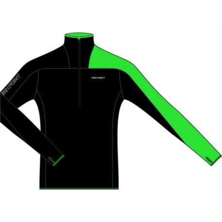 High Point Element 3.0 Man black/green pánská fleecová mikina Tecnostretch