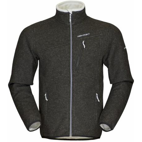 High Point Graven Wool dark grey/grey zip pánský větruodolný vlněný svetr