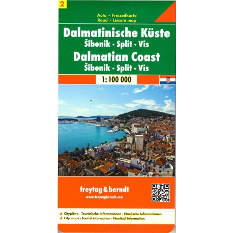 Freytag a Berndt Dalmátské pobřeží 2 - Šibenik, Split, Vis 1:100 000 automapa