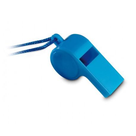 Plastová píšťalka na krk se šňůrkou modrá