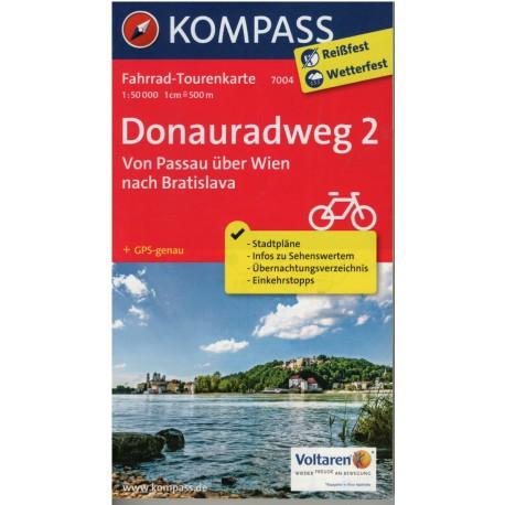 Kompass 7004 Donauradweg 2 1:50 000 cykloturistická mapa