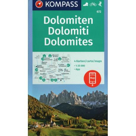 Kompass 672 Dolomiten soubor 4 map 1:35 000