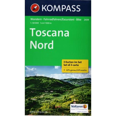 Kompass 2439 Toscana Nord Toskánsko sever soubor 3 map 1:50 000