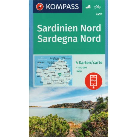 Kompass 2497 Sardinie sever/sardegna nord soubor 4 map 1:50 000