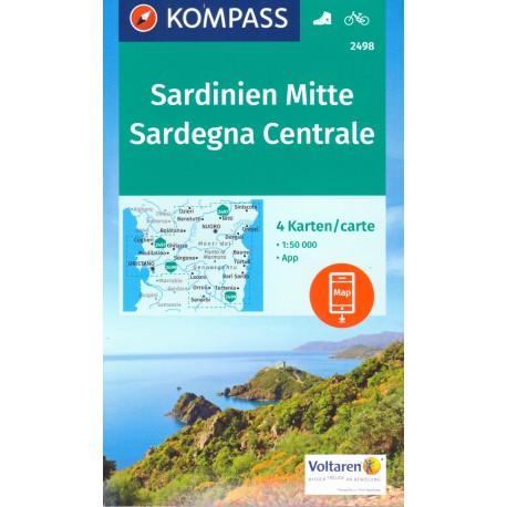 Kompass 2498 Sardinie střed Sardegna Centrale soubor 4 map 1:50 000