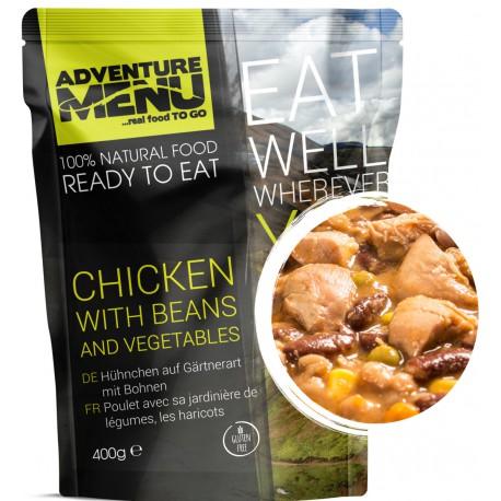 Adventure Menu Kuřecí po zahradnicku s fazolemi 1 porce 400g sterilované jídlo na cesty