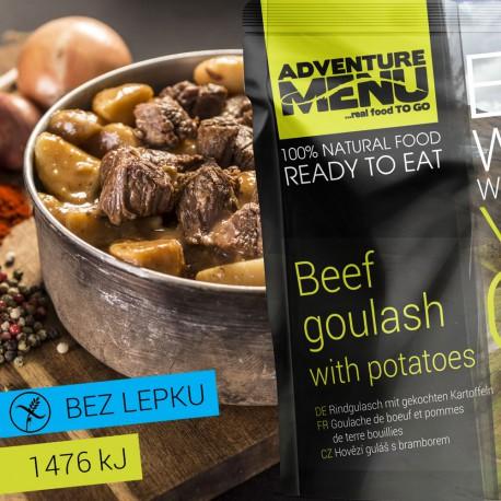 Adventure Menu Hovězí guláš s bramborem 1 porce 400g sterilované jídlo na cesty