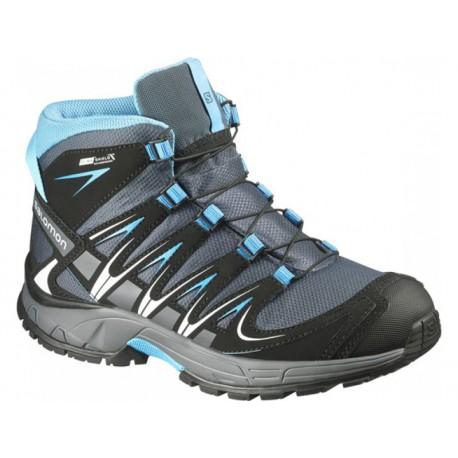 Salomon XA Pro 3D Mid CSWP Jr grey denim/black 373086 dětské vysoké nepromokavé boty