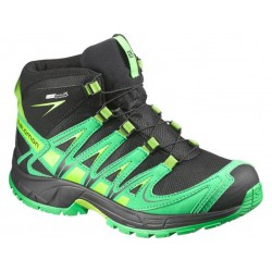Salomon XA Pro 3D Mid CSWP K black/real green 378430 dětské vysoké nepromokavé boty