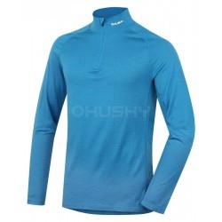 Husky Merino 100 Long Sleeve Zip M modré pánské merino triko dlouhý rukáv se zipem