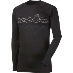 Progress Dry Fast DF NDR Print černá pánské triko dlouhý rukáv