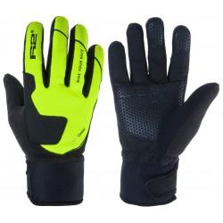 R2 Blizzard ATR03C černá/neonově zelená unisex softshellové rukavice