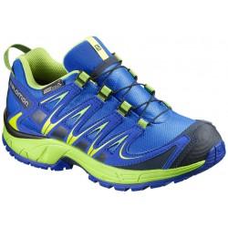 Salomon XA Pro 3D CSWP J union blue/granny green 390438 dětské nízké nepromokavé boty