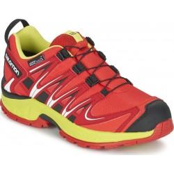Salomon XA Pro 3D CSWP K fiery red/sulphur spring 393234 dětské nízké nepromokavé boty