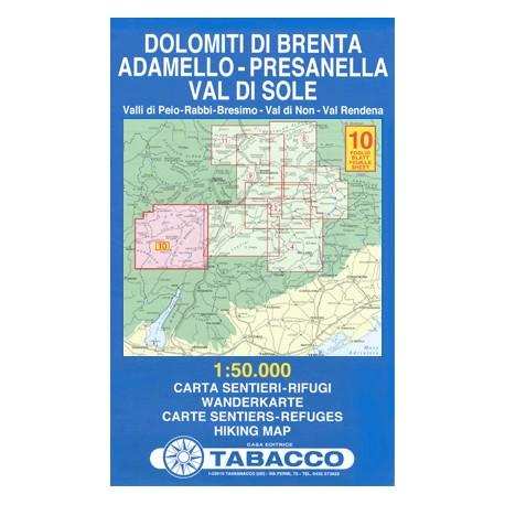 Tabacco 10 Dolomiti di Brenta, Adamello - Presanella, Val di Sole 1:50 000