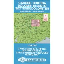 Tabacco 1 Cadore - Cortina, Dolomiti di Sesto/Sextener Dolomiten 1:50 000