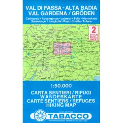 Tabacco 2 Val di Fassa - Alta Badia, Val Gardena/Gröden 1:50 000
