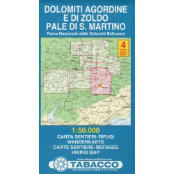 Tabacco 4 Dolomiti Agordine e di Zoldo, Pale di San Martino 1:50 000