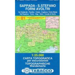 Tabacco 01 Sappada - S. Stefano, Forni Avoltri 1:25 000