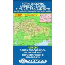 Tabacco 02 Forni di Sopra, Ampezzo - Sauris, Alta Val Tagliamento 1:25 000