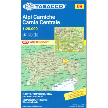 Tabacco 09 Alpi Carniche/Carnia Centrale 1:25 000
