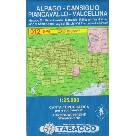 Tabacco 012 Alpago - Cansiglio, Piancavallo - V. Cellina 1:25 000