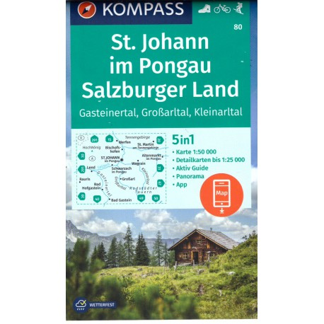 Kompass 80 St. Johann/Salzburger Land, Gasteiner Tal, Grossarltal, Kleinarltal 1:50 000