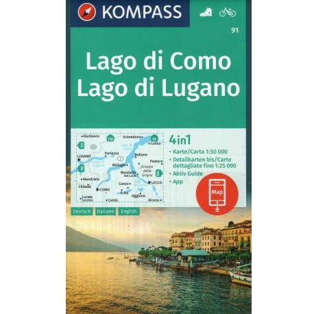 Kompass 91 Lago di Como, Lago di Lugano 1:50 000