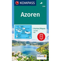 Kompass 2260 Azorské ostrovy 1:50 000 sada 2 turistickým map
