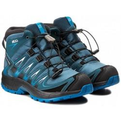 Salomon XA Pro 3D Mid CSWP J mallard blue/r. pond 398528 dětské nepromokavé trekové boty
