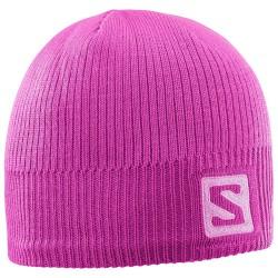 Salomon Logo Beanie rose violet 394968 dámská pletená čepice