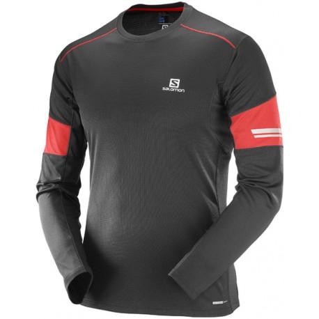 Salomon Agile LS Tee M black/matador 393862 pánské triko dlouhý rukáv