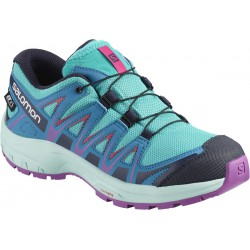Salomon XA Pro 3D CSWP J blue bird/fjord blue/purple 406475 dětské nízké nepromokavé boty
