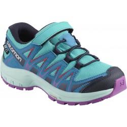 Salomon XA Pro 3D CSWP K blue bird/fjord blue/purple 406480 dětské nízké nepromokavé boty