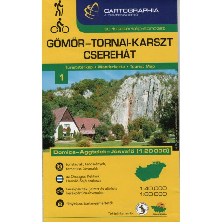 Cartographia Gomor-Tornai-Karszt-Cserehát (Aggtelek) 1:40 000 turistická mapa