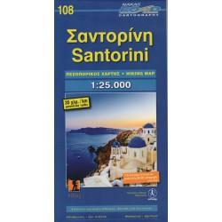 ORAMA 108 Santorini 1:25 000 turistická mapa