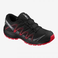 Salomon XA Pro 3D CSWP J black/black/high risk red 407468 dětské nízké nepromokavé boty