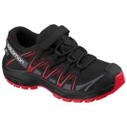 Salomon XA Pro 3D CSWP K black/black/high risk red 407467 dětské nízké nepromokavé boty