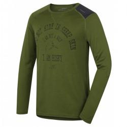 Husky Merino 100 Wolf LS M khaki pánské triko dlouhý rukáv Merino vlna