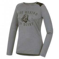 Husky Merino 100 Puppy LS L šedá dámské triko dlouhý rukáv Merino vlna