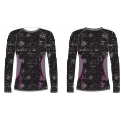 R2 ATF203A black/grey/pink dámské termo triko dlouhý rukáv
