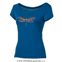 Progress Liberta Vážka modrá dámské funkční triko krátký rukáv bambus
