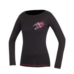 Direct Alpine Furry Long Lady 1.0 black/rose dámské triko dlouhý rukáv Merino