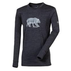 Progress DT Magaro Grizzly tmavě šedý melír dětské triko dlouhý rukáv merino vlna