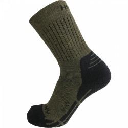 Husky All Wool khaki vysoké trekové ponožky Merino vlna
