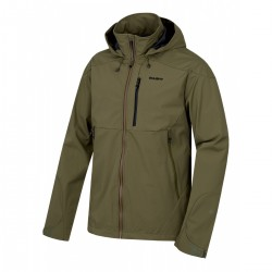Husky Sauri M tmavě olivová pánská nepromokavá softshellová bunda Extend Softshell 15000